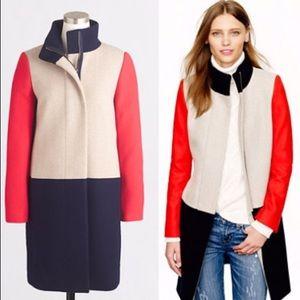 J. Crew Colorblock Rare Funnelneck Wool Coat 0